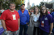 From left, Eddie Fronckwicz, a student at Delaware Valley University, his father Ed Fronckwicz, mother Liz Fronckwicz and sister Christina Fronckwicz of Frmingdale, New York listen to Pope Francis speech at Independence Hall while on the Ben Franklin Parkway during the Festival of Families Saturday September 26, 2015 in Philadelphia, Pennsylvania. Pope Francis is expected to speak at the festival. (Photo By William Thomas Cain)