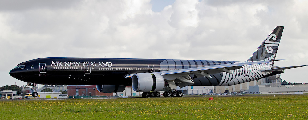 The world's largest black aircraft in Air New Zealand's black paint with a silver fern colour scheme celebrating the All Blacks winning the Rugby World Cup arrives at the international airport Auckland, New Zealand, Thursday, January 12, 2012.  Credit:SNPA / David Rowland