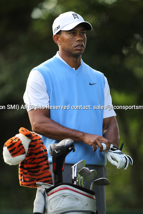 August 06, 2013 Tiger Woods during a practice round at the 95th PGA Championship at Oak Hill Country Club in Rochester, New York.