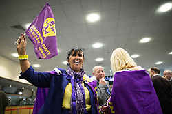 © Licensed to London News Pictures . 25/09/2015 . Doncaster , UK . UKIP supporter BETTY DEARDEN (from Salford) at the 2015 UKIP Party Conference at Doncaster Racecourse , this morning (Friday 25th September 2015) . Photo credit : Joel Goodman/LNP