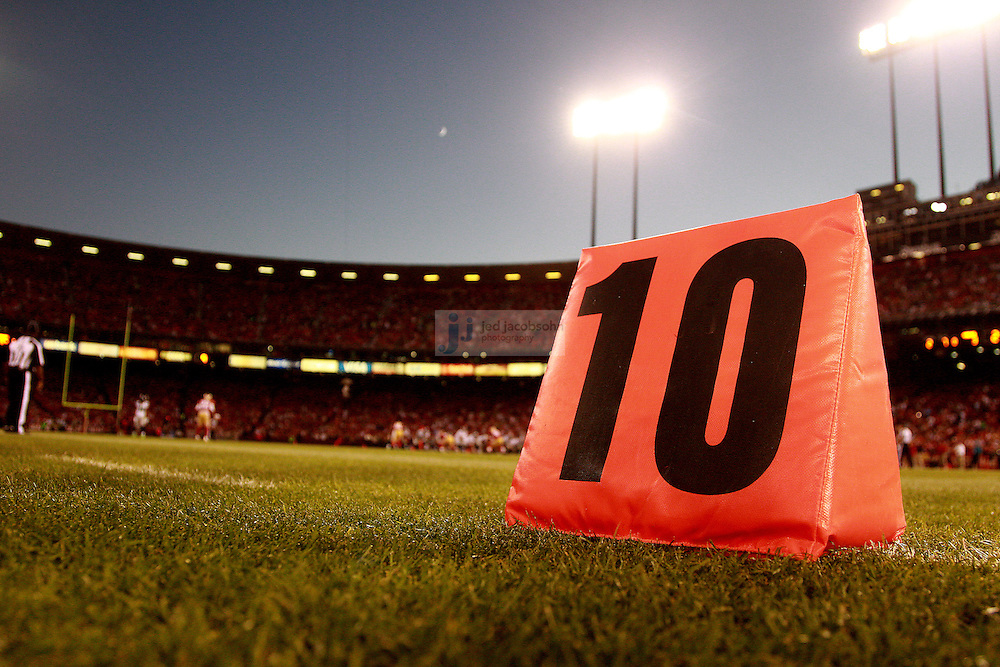A view of the yard marker during the San Francisco 49ers against the Seattle Seahawks NFL game on Thursday, Oct. 18, 2012 at Candlestick Park, in San Francisco, CA. (AP Photo/Jed Jacobsohn)