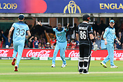 Jofra Archer of England has an unsucessfull appeal for a caught behind against Martin Guptill of New Zealand during the ICC Cricket World Cup 2019 Final match between New Zealand and England at Lord's Cricket Ground, St John's Wood, United Kingdom on 14 July 2019.