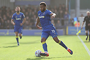 AFC Wimbledon midfielder Tom Soares (19) dribbling during the EFL Sky Bet League 1 match between AFC Wimbledon and Plymouth Argyle at the Cherry Red Records Stadium, Kingston, England on 21 October 2017. Photo by Matthew Redman.