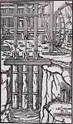 Draining mine workings by means of a battery of three pumps. The axle, B, is powered by an overshot water wheel.  The cams on the axle raise and lower the piston rods by means of tappets. C is the bottom of the pipe which is encased in the basket, D. From 'De re metallica', by Agricola, pseudonym of Georg Bauer (Basle, 1556).  Woodcut.