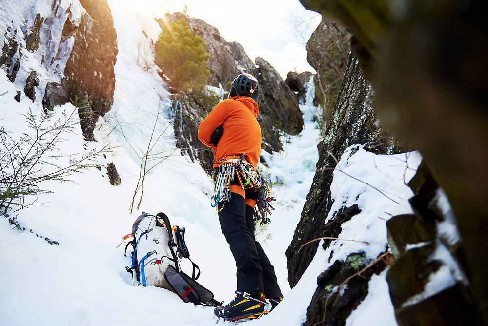 Ben hiking up to one of the few alpine ice climbs Western Masschusetts - The Berkshires & Pioneer Valley.