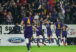 Luka Zahovic of Maribor and other players celebrate after Zahovic scored first goal for Maribor during football match between NK Maribor and NK Olimpija Ljubljana in 34th Round of Prva liga Telekom Slovenije 2017/18, on May 19, 2018, in Stadion Ljudski vrt, Maribor, Slovenia. Photo by Vid Ponikvar / Sportida