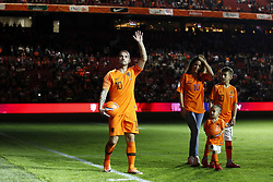 (L-R) Wesley Sneijder of Holland, Yolanthe Sneijder-Cabau, Xess Xava,, Jessey Sneijder during the International friendly match match between The Netherlands and Peru at the Johan Cruijff Arena on September 06, 2018 in Amsterdam, The Netherlands