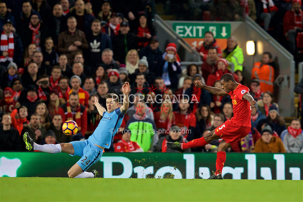 LIVERPOOL, ENGLAND - Saturday, December 31, 2016: Liverpool's Georginio Wijnaldum in action against Manchester City during the FA Premier League match at Anfield. (Pic by David Rawcliffe/Propaganda)