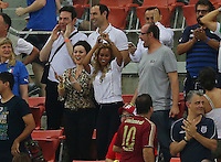 Fanny Neguesha the girlfriend of Mario Balotelli of Italy - WAG - dances in the crowd after Balotelli scored to make it 1-2