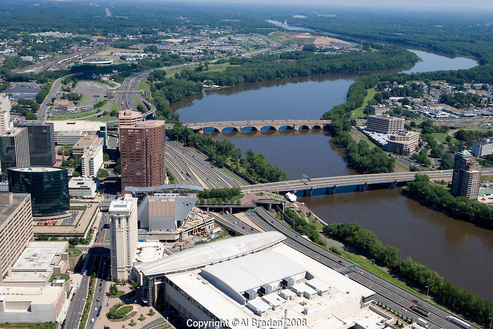 Aerial of Hartford Skyline and Connecticut River. Riverfront parks line both sides of the river