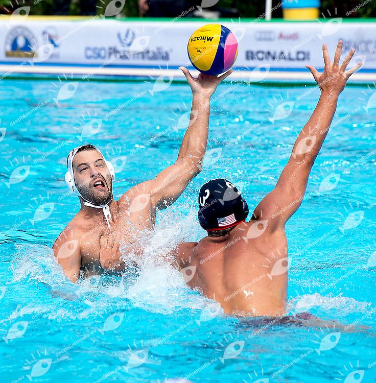 10 FILIPOVIC Filip SRB 3 OBERT Alex USA<br /> Serbia SRB - United States USA<br /> day 01 - 23/06/2015<br /> FINA Water Polo World League Superfinal Men<br /> Bergamo (ITA) 23-28 June 2015<br /> Photo G.Scala/Deepbluemedia