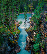 Athabasca Falls is a waterfall in Jasper National Park on the upper Athabasca River, approximately 30 kilometres south of the townsite of Jasper and just west of the Icefields Parkway, Alberta, Canada,