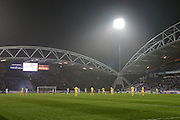 General view - players out for the second half on this damp evening in Huddersfield during the Sky Bet Championship match between Huddersfield Town and Rotherham United at the John Smiths Stadium, Huddersfield, England on 15 December 2015. Photo by Mark P Doherty.