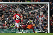 Manchester United's Daniel James scores past Rochdale's Robert Sanchez during the EFL Cup match between Manchester United and Rochdale at Old Trafford, Manchester, England on 25 September 2019.
