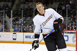 April 2, 2011; San Jose, CA, USA;  Anaheim Ducks right wing Corey Perry (10) warms up before the game against the San Jose Sharks at HP Pavilion. San Jose defeated Anaheim 4-2. Mandatory Credit: Jason O. Watson / US PRESSWIRE