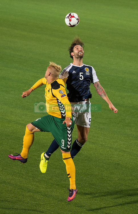 VILNIUS, Sept. 2, 2017  Charlie Mulgrew (R) of Scotland vies with Deivydas Matulevicius of Lithuania during the FIFA World Cup European Qualifying Group F match between Lithuania and Scotland at LFF Stadium in Vilnius, Lithuania, on Sept. 1, 2017. Scotland won 3-0. (Credit Image: © Alfredas Pliadis/Xinhua via ZUMA Wire)