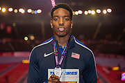 Michael Cherry of the United States of America with his Men's 400m silver medal at the IAAF World Indoor Championships day three at the National Indoor Arena, Birmingham, United Kingdom on 3 March 2018. Photo by Martin Cole.