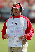 TAMPA, FL - OCTOBER 15:  Head coach Jon Gruden of the Tampa Bay Buccaneers paces the sideline during a tight game against the Cincinnati Bengals at Raymond James Stadium on October 15, 2006 in Tampa, Florida. The Bucs defeated the Bengals 14-13. (©Paul Anthony Spinelli) *** Local Caption *** Jon Gruden
