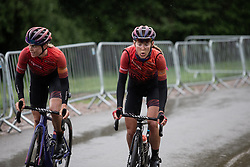 Tiffany Cromwell (AUS) and Hannah Barnes (GBR) of CANYON//SRAM Racing climb on the final ascent of Stage 4 of 2019 OVO Women's Tour, a 158.9 km road race from Warwick to Burton Dassett, United Kingdom on June 13, 2019. Photo by Balint Hamvas/velofocus.com