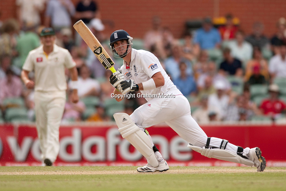 Kevin Pietersen bats during the second Ashes Test Match between Australia and England at the Adelaide Oval. Photo: Graham Morris (Tel: +44(0)20 8969 4192 Email: sales@cricketpix.com) 4/12/10