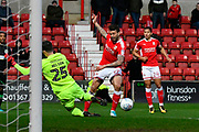 Marc Richards (17) of Swindon Town crosses the ball during the EFL Sky Bet League 2 match between Swindon Town and Yeovil Town at the County Ground, Swindon, England on 10 April 2018. Picture by Graham Hunt.