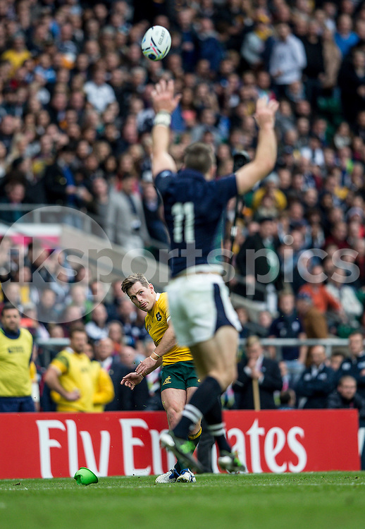 Bernard Foley of Australia with a conversion attempt during the Rugby World Cup Quarter Final match between Australia and Scotland played at Twickenham Stadium, London on the 18th of October 2015. Photo by Liam McAvoy.