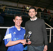 The Evening Telegraph's George Cran presents the man of the match award to St James' left back Ryan Kenneth - St James (blue) v NCR (white) North of Tay Cup (sponsored by Evening Telegraph) Cup Final at Dens Park <br /> <br />  - &copy; David Young - www.davidyoungphoto.co.uk - email: davidyoungphoto@gmail.com