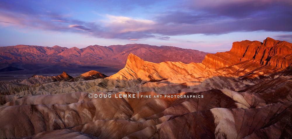 First Light Of Dawn Over Zabriskie Point, Death Valley National Park, California