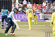 WICKET -  Ashleigh Gardner catches Laura Marsh off Delissa Kimmince during the Royal London Women's One Day International match between England Women Cricket and Australia at the Fischer County Ground, Grace Road, Leicester, United Kingdom on 4 July 2019.