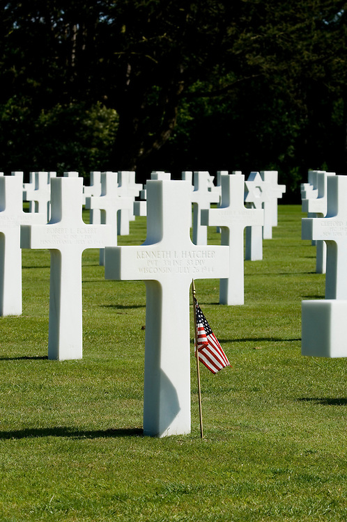 The grave stones of the American war cemetery at St Laurent. Normandy, France. 9387 US servicemen are buried there.