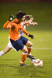 Virginia Cavaliers MF Jonathan Villanueva (10).  The Virginia Cavaliers Men's Soccer Team lost to the Wake Forest Demon Decons in penalty kicks in the semifinal round of the 2006 ACC Tournament on November 3, 2006 at the Maryland Soccerplex in Germantown, MD.