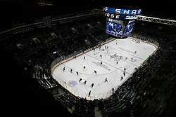 May 8, 2011; San Jose, CA, USA; The San Jose Sharks and the Detroit Red Wings warm up before game five of the western conference semifinals of the 2011 Stanley Cup playoffs at HP Pavilion. Mandatory Credit: Jason O. Watson / US PRESSWIRE