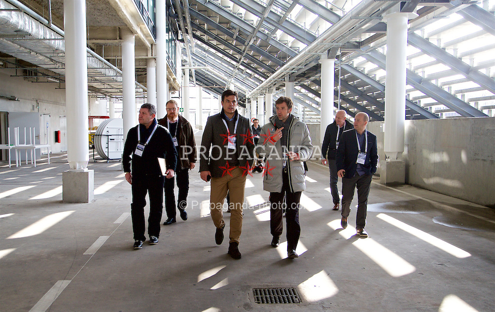 BORDEAUX, FRANCE - Tuesday, January 26, 2016: Wales' assistant manager Osian Roberts, manager Chris Coleman and Chief-Executive Jonathan Ford during an inspection visit to the Stade Matmut Atlantique, home of Girondins de Bordeaux, ahead of the UEFA Euro 2016 Tournament. (Pic by David Rawcliffe/Propaganda)