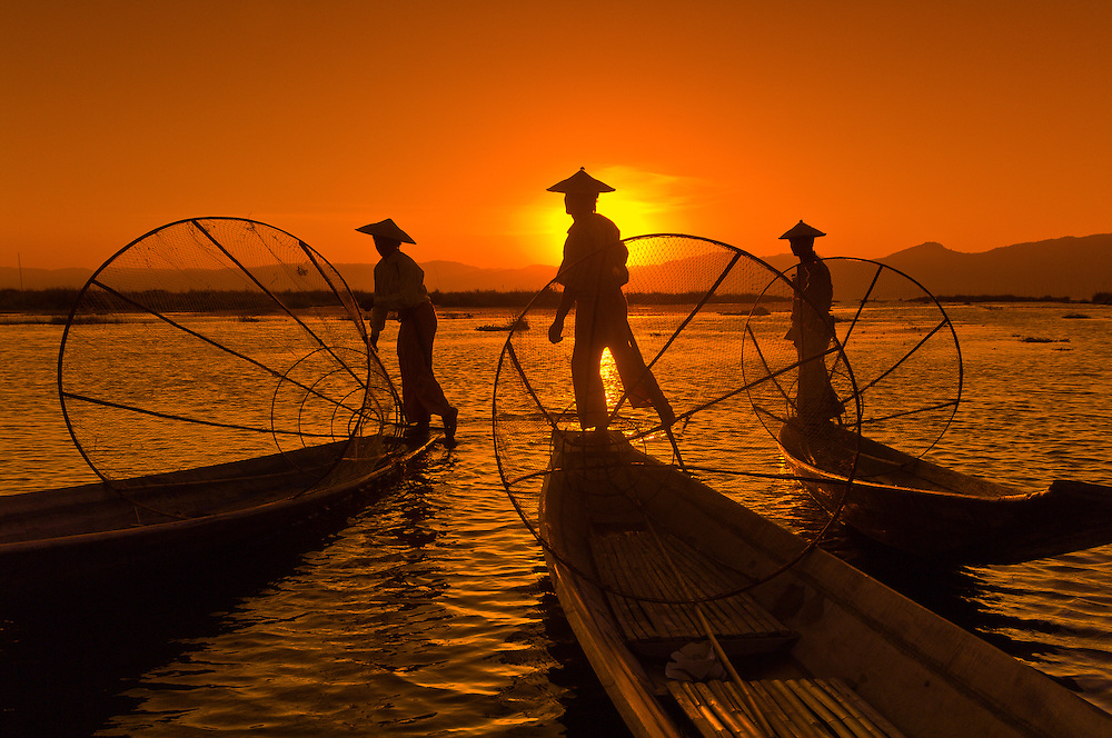 Three legrowing fishermen, Inle Lake, Burma (Myanmar)
