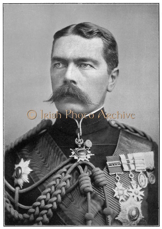 Horatio Herbert Kitchener, 1st Earl Kitchener of Khartoum (1850-1916) Irish-born British soldier and statesman. Regained Sudan for Egypt. Commander-in-Chief South Africa: Secretary of State for War at beginning of World War I in 1914. Lost in HMS 'Hampshire'.