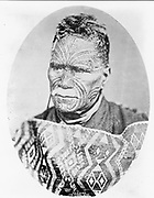 Tawhiao I (1822-1894) the Maori king of New Zealand, leader of the Wiakato tribes.  Tawhiao has the fine facial tattooing of the high-ranking Maori.
