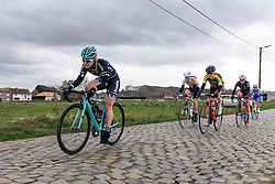 Drops speeding across the cobbles - Pajot Hills Classic 2016, a 122km road race starting and finishing in Gooik, on March 30th, 2016 in Vlaams Brabant, Belgium.