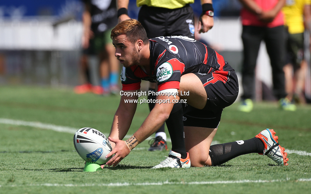 NZ Warriors player Api Pewhairangi lines up a kick  during the NSW Cup Match  between the NZ Warriors and the Wentworthville Magpies played at Mt Smart Stadium in South Auckland on the 21st March 2015. <br /> <br /> Copyright Photo; Peter Meecham/ www.photosport.co.nz