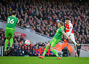 Arsenal Midfielder Alex Oxlade-Chamberlain with a shot on goal during the The FA Cup match between Arsenal and Sunderland at the Emirates Stadium, London, England on 9 January 2016. Photo by Adam Rivers.