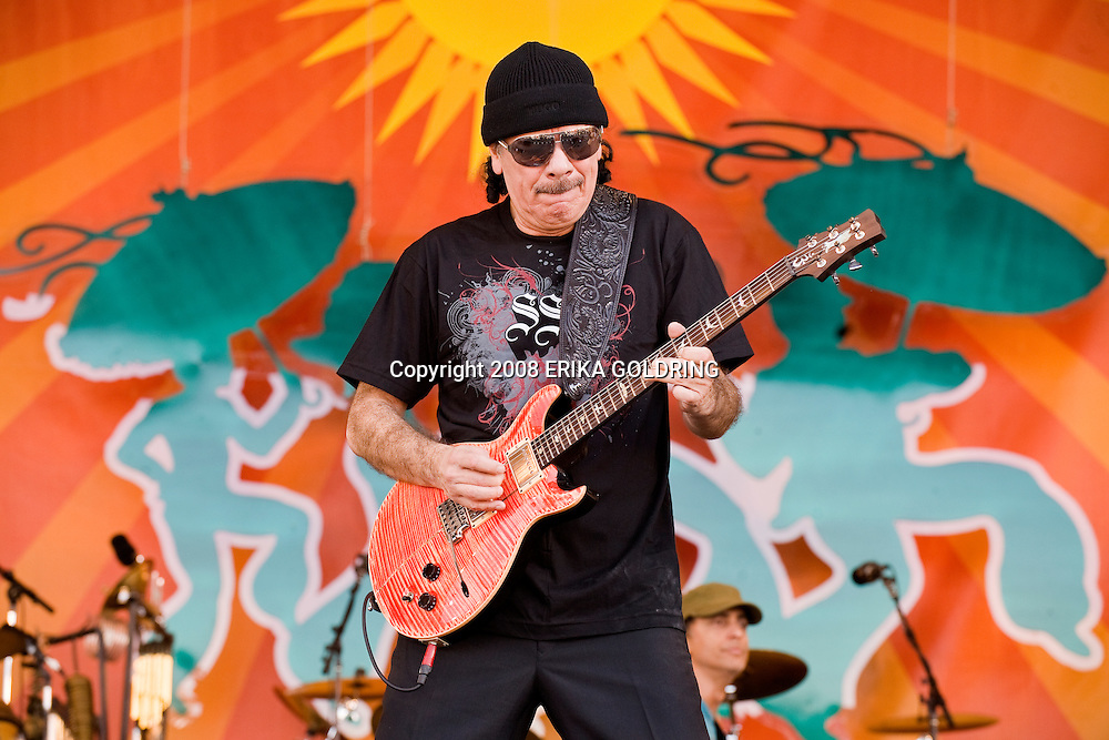 Santana performs at the New Orleans Jazz & Heritage Festival on May 4, 2008, in New Orleans, LA.
