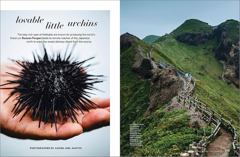 A feature travel story on fishing for sea urchins in the upper wilds of Hokkaido in northernmost Japan.