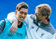 Head coach Jurgen Klopp with Roberto Firmino pictured during Liverpool training ahead of the Europa League Final at St. Jakob-Park, Basel<br /> Picture by EXPA Pictures/Focus Images Ltd 07814482222<br /> 17/05/2016<br /> ***UK &amp; IRELAND ONLY***<br /> EXPA-FEI-160517-0072.jpg