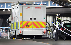 © Licensed to London News Pictures. 05/03/2019. London, UK. A Metropolitan police CBRN (Chemical Biological Radiological Nuclear) specialist vehicle arrives at Waterloo Station as police deal with a suspicious package. The Metropolitan Police counter terrorism command has said that small improvised explosive devices have been found at the station, at Heathrow and London City airport. Photo credit: Peter Macdiarmid/LNP