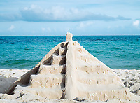 mayan sand pyramid on the beach of the maya rivera in yucatan mexico