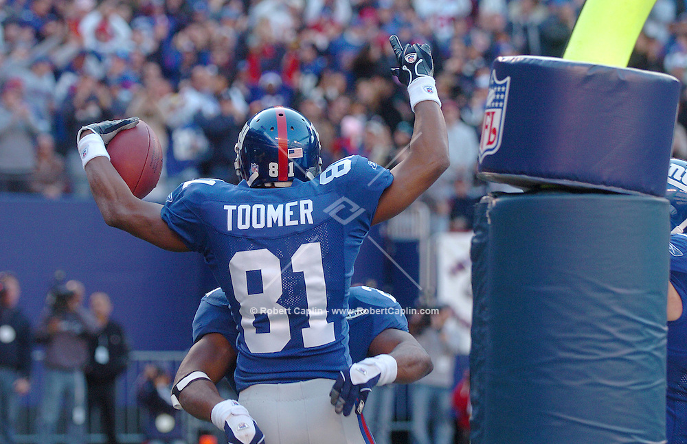 Amani Toomer celebrates his touchdown in the 1st half of the New York Giants vs Philadelphia Eagles match-up, Sunday, Nov. 18, 2005. (Robert Caplin/For The New York Times)....