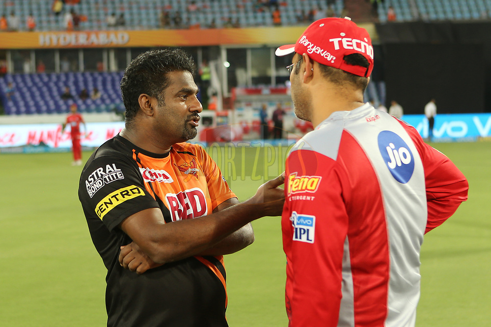 Muttiah Muralitheran and Virender Sehwag during match twenty five of the Vivo Indian Premier League 2018 (IPL 2018) between the Sunrisers Hyderabad and the Kings XI Punjab  held at the Rajiv Gandhi International Cricket Stadium in Hyderabad on the 26th April 2018.<br /> <br /> Photo by: Ron Gaunt /SPORTZPICS for BCCI