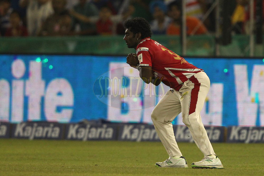 Parvinder Awana of the Kings XI Punjab takes the catch to get James Franklin of the Barbados Tridents wicket during match 5 of the Oppo Champions League Twenty20 between the Kings XI Punjab and the Barbados Tridents held at the Punjab Cricket Association Stadium, Mohali, India on the 20th September 2014<br /> <br /> Photo by:  Shaun Roy / Sportzpics/ CLT20<br /> <br /> <br /> Image use is subject to the terms and conditions as laid out by the BCCI/ CLT20.  The terms and conditions can be downloaded here:<br /> <br /> http://sportzpics.photoshelter.com/gallery/CLT20-Image-Terms-and-Conditions-2014/G0000IfNJn535VPU/C0000QhhKadWcjYs