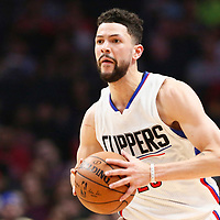 25 March 2016: LA Clippers guard Austin Rivers (25) brings the ball up court during the Los Angeles Clippers 108-95 victory over the Utah Jazz, at the Staples Center, Los Angeles, California, USA.