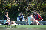 London, United kingdom.  left visiting coach Robin WILLIAMS and right CUBC Chief Coach, Steve TRAPMORE, during the Pre 2014 Varsity Boat Race Fixture, Cambridge University BC vs Molesey Boat Club, over the Championship Course; Putney to Mortlake, River Thames, Greater London on Sunday  16/03/2014 [Mandatory Credit: Peter Spurrier/Intersport Images]<br /> <br />  <br /> <br /> CAMBRIDGE; Bow: Michael THORP, 2: Luke JUCKETT,  3: Ivo DAWKINS, 4: Steve DUDEK, 5: Helge GRUETJEN, 6: Matthew JACKSON, 7: Joshua HOOPER, Stroke: Henry HOFFSTOT, Cox: Ian MIDDLETON<br /> <br />  <br /> <br /> MOLESEY BC<br /> <br /> Bow: Sam SCRIMEGOU, 2: Pete ROBINSON, 3: Matt TARRANT, 4:<br /> <br /> Fred GILL , 5: Mo SBIHI, <br /> <br /> 6: Phil CONGDON, 7: George Nash, Stroke: James FOAD, Cox: Henry<br /> <br /> FIELDMAN