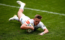 Jack Stapley of Leicester Tigers scores a try - Mandatory by-line: Robbie Stephenson/JMP - 29/07/2017 - RUGBY - Franklin's Gardens - Northampton, England - Leicester Tigers v Bath Rugby - Singha Premiership Rugby 7s